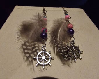 "beads and charm ""rudder"" feather earrings"