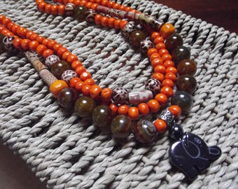 Necklace 3 strands 45cm, multicolored beads