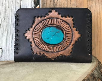 Turquoise Wallet, Black Wallet, Slim Cardholder, Leather Accessories, Leather Wallet, Personalized Wallet, Gifts for Him, Leather Wallet
