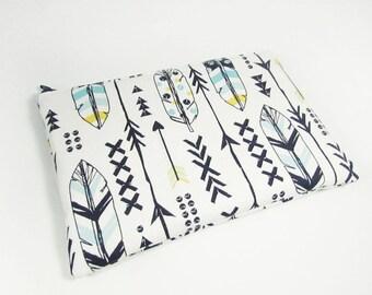 Navy Blue Arrows Bag - Feathers & Arrows Makeup Bag - Monogrammed Makeup bag - Adventurer Gift - Bridesmaid Bag - Bohemian Gifts - Medium