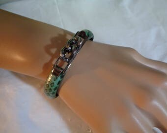 Signed Peruzzi Florence Gun Metal Green Black Snakeskin Italian Clamper Cuff Bracelet Small Wrist