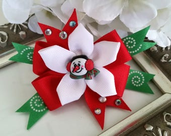 Christmas Hair Bow - Red White and Green Christmas Hair Bow - Snowman Christmas Hair Bow - Girl Hair Bow - Holiday Season Hair Bow
