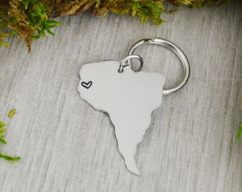 South America Keychain - Best Friend Gift - Couples Gift - Long Distance Love
