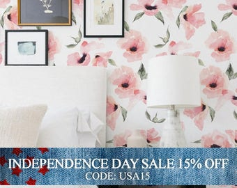 Independence Day Sale - Floral Wallpaper Watercolor Poppy Flowers Pink, Peel & Stick Fabric Wallpaper Repositionable