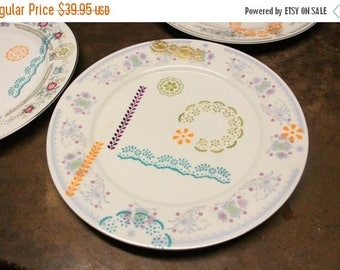 The Cute Hunter Rematched Set of 4 Dinner Plates  [Upcycled Handpainted OOAK Ceramic] 10 inch plates (Dinner Set A)