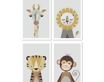 "Safari prints, Series of Four, A4 or 8x10"" size.Nursery prints, nursery art, kids art, nursery decor, playroom art, animal prints,art prints"