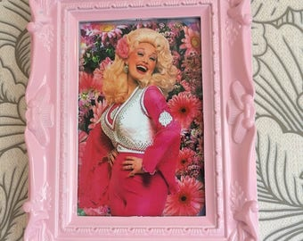 Dolly Parton kitsch colour print in a pink frame 6x4""