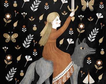 dark wolf warrior print