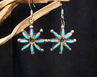 turquoise cluster dangle earrings - sterling silver