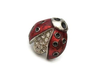 Enamel Ladybug Pin With Clear Rhinestone Accents   Small Lapel Pin Tie Tack    Vintage Red