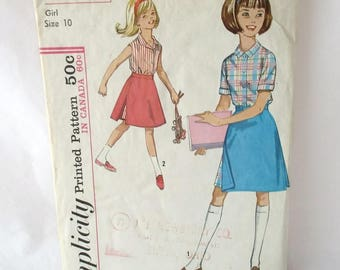 Simplicity 5296 Girls Skirted Shorts and Blouse UNCUT