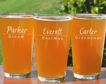 Custom Laser Etched 16 Ounce Pub Glass, Logo Beer Glass, Custom, Monogram, Engraved, Personalized, Groomsman, Gift, Wedding