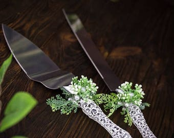 8% OFF Personalized Cake Server, Green Rustic Wedding Cake Server Set, Engraved Cake Knife, Greenery Wedding Server and Knife, Cake Serving
