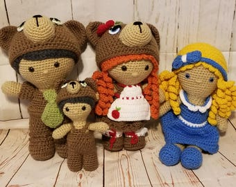 Goldilocks and the Three Bears, Crocheted Doll Set