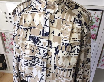 Vintage ST MICHAEL Abstract Blouse UK Size 10 (38) 1980s 80s Mod New Wave M&S