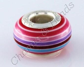 1 Pearl charm in resin striped multicolored pandora compatible