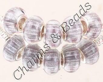 1 gray glitter glass charm bead compatible pandor chamili silver