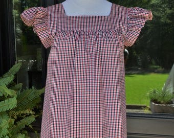 Women's top the Low Country top in black & red gingham check custom made by Collyn Raye
