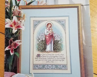 John 3:16, counted cross stitch pattern, leisure arts leaflet 2694, vintage