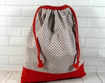 Red star drawstring bag, reversible shoe bag, cotton toy bag, lingerie bag, for her, handmade gym bag