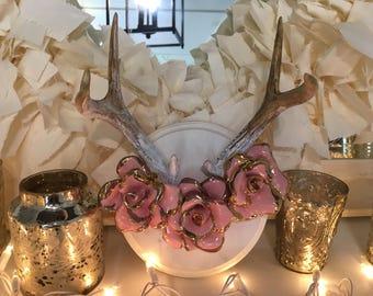 Ceramic Flowers and Deer Antlers