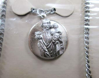 Vintage Saint Joseph Silver Tn Medal and Chain Necklace 24 inches Made in Japan Original Packaging