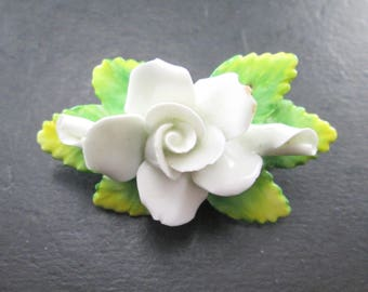 Vintage Artone Bone China White Flower Brooch Pin Made in England