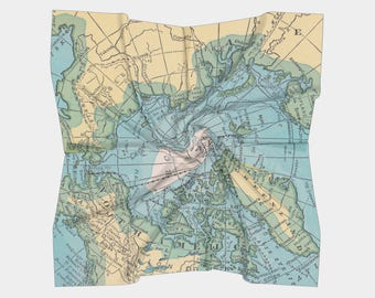 Arctic Map Scarf - blue, yellow, traditional map, travel, wanderlust accessories, women's Square scarf, pocket square