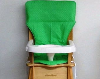 replacement cotton fabric highchair cover, Eddie Bauer wooden high chair pad, baby chair pad, child care, kids feeding, spring green/dots