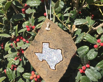 Holographic Christmas ornament Texas shape engraved flagstone, rustic Christmas ornament with glitter
