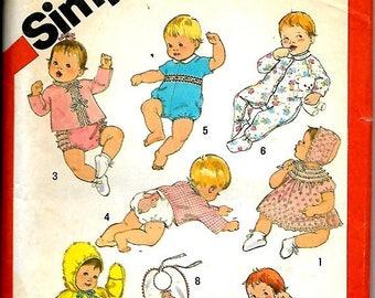 SALES EVENT Simplicity  6383   Babies layette   Size 6-mos   C1983    Uncut