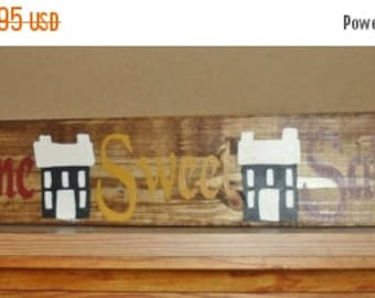 "50% OFF OVERSTOCK SALE Hand Crafted Rustic Primitive ""Home Sweet Saltbox"" Salt Box House Wood Sign Home Decor Wall Hanging"