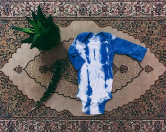 3 FOR 25 DOLLARS ~ Natural Hand dyed OOAK Indigo 3-6 Month Onsie
