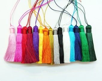 Synthetic Silk thread tassels, 8cm long, 2 pcs set, 15 colors available