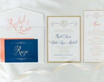 5x7 Gold White Coral & Navy Wedding Invitation Suite with Details Insert, RSVP and Envelope Liner — Different Colors Available!