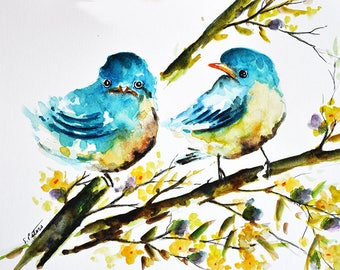 PRINT Of Watercolor Bird Painting, Yellow Birds With Yellow Flowers 6x8 Inch