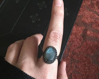 Oval Labradorite Crown Ring