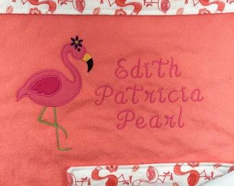 Personalized Baby Blanket Girl Baby Girl Gift Personalized Baby Girl Blanket Personalized Flamingo Gift Baby Name Blanket Girl