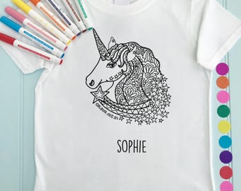 Unicorn Girls Tee Shirt Personalised Colour in Unicorn Design Doodle Colouring in Art Fabric Pens T-Shirts Fun Activity for Kids