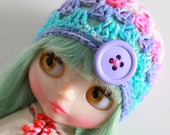 Fizzy Clown Button Beanie - A Crochet Blythe Doll Hat for Kenner Neo Pullip - Granny Square Hat - Crochet Beanie - Eriko's Emporium