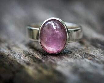 Pink Tourmaline Ring 7.5 -  Pink Tourmaline Cabochon - Tourmaline Ring Size 7.5 - Pink Tourmaline - Pink Tourmaline Cabochon Ring Tourmaline