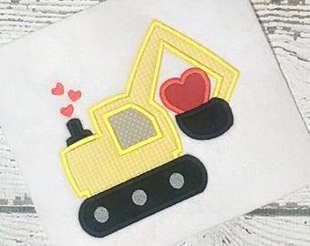 Valentine applique design - heart applique design - construction Applique - holiday applique - applique design - transportation applique
