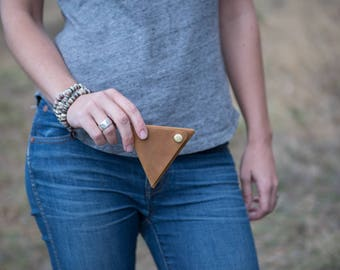 Leather Triangle Valuables Pouch