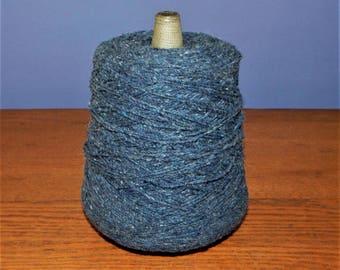 Vintage Hand Spun Blue Wool YARN Bolt SPOOL ~ Vintage 1980s Blue Flecked Knitting Crochet Weaving Yarn ~ 1.25 lb pounds ~ Original Reciept