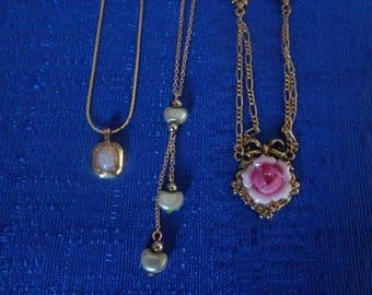 Lot of 3 Avon Necklaces,Avon Opal Necklace,Avon Heart Necklace,Avon Pink Rose Necklace