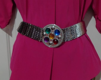 80's Silver Metal Stretch Fish Scale Belt with Colorful Round Buckle