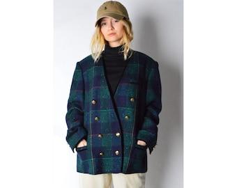 Vintage 80s Navy Blue Green Check Wool Blend Blazer Size M