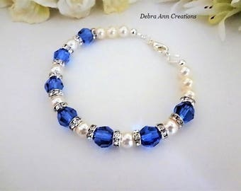 Blue Sapphire Crystal Bracelet Royal Blue Wedding Jewelry Something Blue Bridal Jewelry Bride Bracelet Sapphire Bracelet Bridesmaid Bracelet