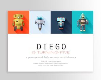 Modern Robot Invite - Robot Invitation - Robot Birthday Invitation - Robot Birthday Invite -Fifth Birthday Invite
