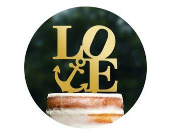 Custom Nautical Philadelphia LOVE Cake Topper, Modern Navy Wedding Cake Topper, Nautical Themed Wedding, Destination Wedding Topper (T284)